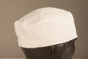Flat Top Skull Cap with Elastic Back, White