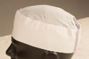 Skull Cap, Velcro Adjustable Mesh Top, White